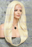 Long Straight Heat Ok Lace Front/top Human Hair Blend Wig Light Blonde Evee