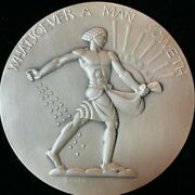 1932-society Of Medalists 5 Lee Lawrie Sc. Silver Medal 2-7/8 Maco