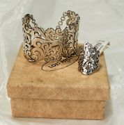 Nwt Lois Hill Hand Carved Sterling Silver Ring And Reticulated Bracelet Set