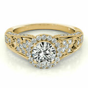 1.10 Ct Real Diamond Engagement Band 14k Solid Yellow Gold Ring Size 5 6 7 8 9