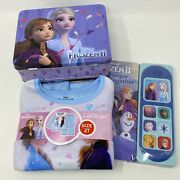 New Frozen Lot 2t Pajamas Tin Lunch Box Stronger Together Music Book Elsa Anna