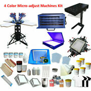 Brand New 4 Color 4 Station Screen Printing Kit W/press Printer And Flash Dryer Us