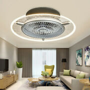 Led Round Ceiling Fan Light 3 Speed Lamp Remote Control Ultra-quiet Time Setting
