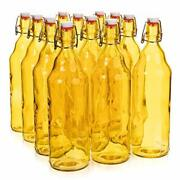 33 Oz. Yellow Glass Grolsch Beer Bottle Quart Size - Airtight Seal With Swing...
