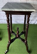 Victorian Style Vintage Carved Wood Marble Top Fern Plant Stand Pedestal Table