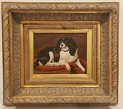 Original Oil Painting English Shepherd With Ornate Gold Frame 18.5 X 16.5