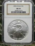 2005 American Silver 1oz Eagle 1 Ngc Ms70 Rw East Coast Coin And Collectables