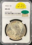 1923 Peace Dollar Ngc Ms65 Cac Gem Uncirculated Nicely Toned Lusterbomb Sz39