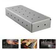 Stainless Steel Shell Bbq Smoker Box For Wood Smoking Meat Gas Or Charcoal Grill