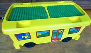Lego Duplo Ride-on Storage Container School Bus W 2 Base Plates And 9 Pounds Duplo