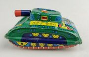 Vintage Tin Litho Toy Army Tank Lithographed Friction Car Japan Military 1950's