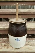Antique Robinson Ransbottom Stoneware Butter Churn 3 Gallon W/ Lid And Dasher