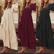 Us Stock Women Long Sleeve Party Baggy Dresses V Neck Grow Prom Dress Plus Size