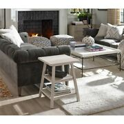 Universal Furniture Modern Farmhouse Wood Square End Table In Weathered White