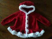 Hand Knitted Baby Girls Christmas Hoodie Size 12-18 Months