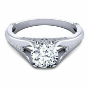 Round Cut 0.80 Ct Real Diamond Engagement Ring 14k Solid White Gold Size 5 6 7.5