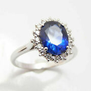 3.48 Ct Natural Diamond Blue Sapphire Gemstone Ring Solid 14k White Gold Band 7