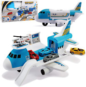 Transport Cargo Airplane Car Toy Play Set For 3+ Years Old Boys And Girls Blue