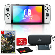 Nintendo Switch Oled White With Monster Hunter Rise, 128gb Card, And More