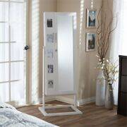 Bowery Hill Contemporary Storage Jewelry Armoire In White