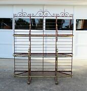 Large Antique French Iron Brass Bakers Rack Boulangerie Etagere Plant Stand