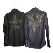 2x Fender Sz S Rock And Roll Religion Long Sleeve Embroidered Shirt Black And Navy