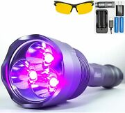 Black Light Uv Flashlight - Rechargeable 18650 With Glasses -high Power Upgraded