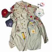 Mixed Lot Of Miscellaneous Boy Scout Items Patches Pins Hat Shirts Rings Scarfs
