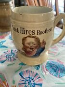 Antique Mettlach Stoneware Hires Root Beer Advertising Mug Stein Villeroy And Boch