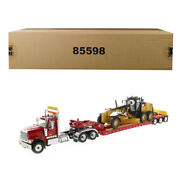 International Hx520 Tandem Tractor Red With Xl 120 Lowboy Trailer And Cat Cat...