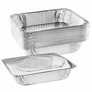 Nyhi 9 X 13 Andrdquo Aluminum Foil Pans With Lids 10 Pack   Durable Disposable Grill