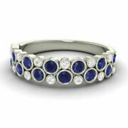 0.91 Ct Real Diamond Blue Sapphire Wedding Band Solid 950 Platinum Ring Size 6 7