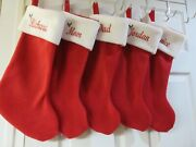 8 Personalized Christmas Stockings, Monogrammed Red Stocking, Custom With Design