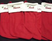 7 Personalized Christmas Stockings, Monogrammed Red Stocking, Custom With Design