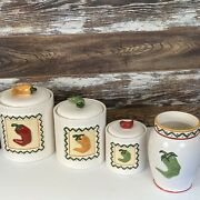 San Francisco Clay Art Chili Peppers Canister Set Plus Utensil Jar