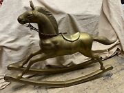 Large Rare 25 X 36 Vintage Antique Brass Rocking Horse 25lbs Leather rein