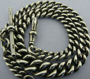 Antique Solid Sterling Silver Albert Pocket Watch Chain And T-bar Bir 1911 Andnbsp
