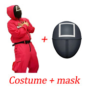 Squad Game Mask Jumpsuit Evil Round Square Face Cosplay Costume Halloween Party