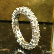 Round Cut 2.00ct Real Diamond Wedding Ring 14k Solid White Gold Band Size O K