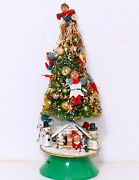 Christmas Musical Pixie Tree Feather Small Vintage Japan Ornate 15 Usa Seller