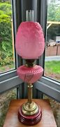 Original Victorian Satin Glass Cranberry Pink Font Oil Lamp Shade Complete A1