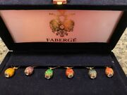 Faberge Set Of 6 Enamel Egg And Crystal Wine Glass Charms / Markers In Velvet Box