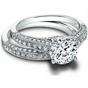 1.15ct Real Diamond Engagement Wedding Ring 14k Solid White Gold Band Set Size 5