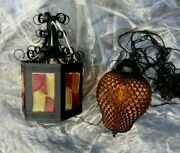 Mid Century Modern Hanging Swag Lamps - Amber Pineapple Glass Or 6-sided Panes
