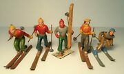 5x Vintage Lead Figure - Downhill Skier, Alpine Carrying Skis - Made In France