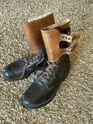 1940s Ww2 Buckle Boots Wwii Military Army Brown Leather Field Combat