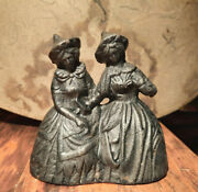 Vintage Cast Iron Double Bells Kitchen Witches Twin Ladies Stove Top Dinner Bell