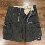 Mens 31 Abercrombie And Fitch Heavy Duty Navy Cargo Shorts 7 Twill
