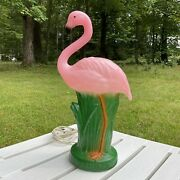 Flamingo Light Up Lamp Blow Mold Pink Vintage 15 Tall