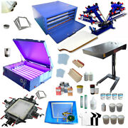 4 Color 1 Station Screen Printing Kit Full Set Press With Dryerand Drying Cabinet